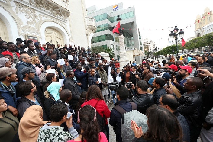 طلبة أفارقة يطالبون بتجريم العنصرية في تونس - 01- طلبة أفارقة يطالبون بتجريم العنصرية في تونس - الان