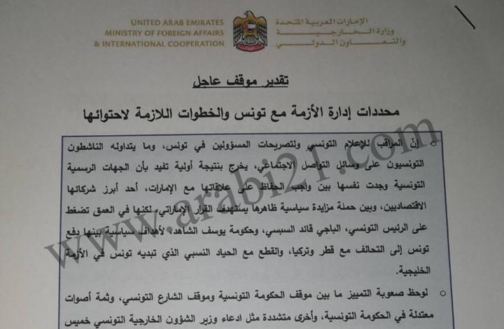 حصري: وثيقة إماراتية تكشف خطة تعامل أبوظبي مع أزمة تونس