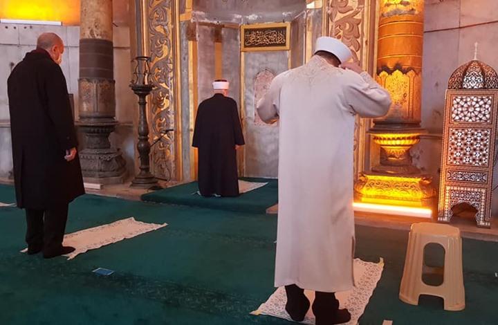 خطيب المسجد الأقصى يؤم الرئيس أردوغان بجامع آيا صوفيا