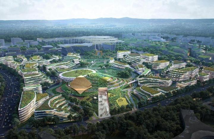 """مدينة """"مستقبل"""" صينية بمبانٍ تحاكي حقول الأرز (صور)"""