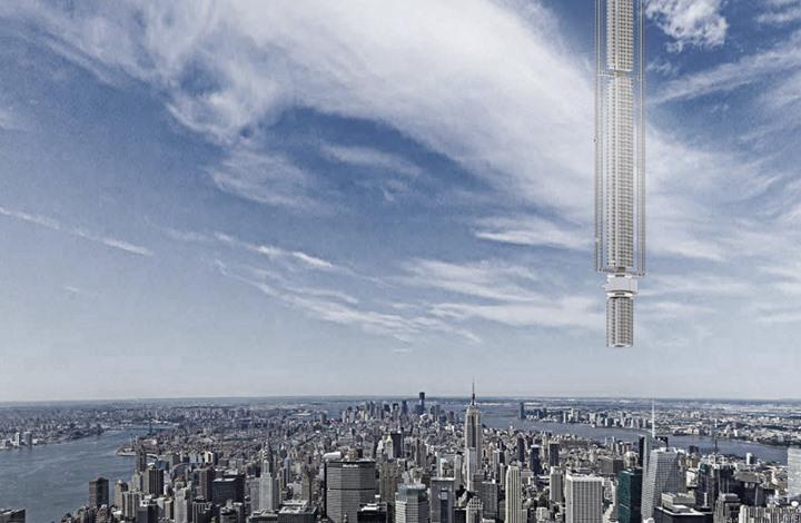 تصميم غريب لناطحة سحاب.. برج يتدلى من السماء بدبي (صور)