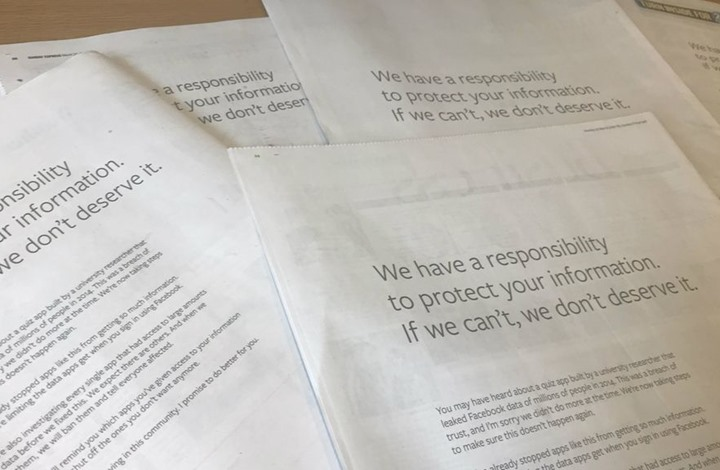"""""""فيسبوك"""" يقدم اعتذارا للبريطانيين عبر صحفهم"""