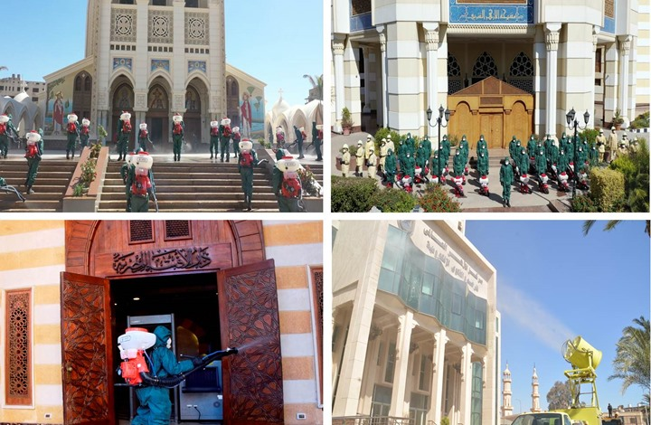 الجيش المصري يعقم الأزهر والكنيسة ضد كورونا (شاهد)