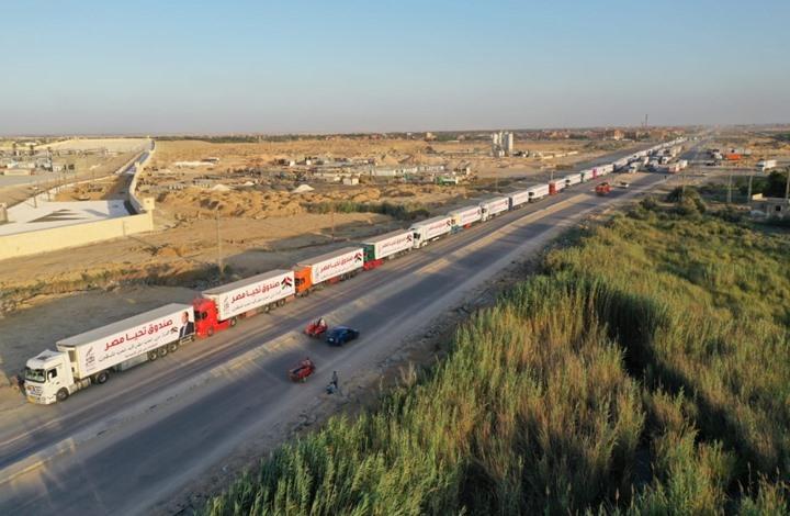 130 شاحنة من المساعدات المصرية في طريقها لغزة (صور)