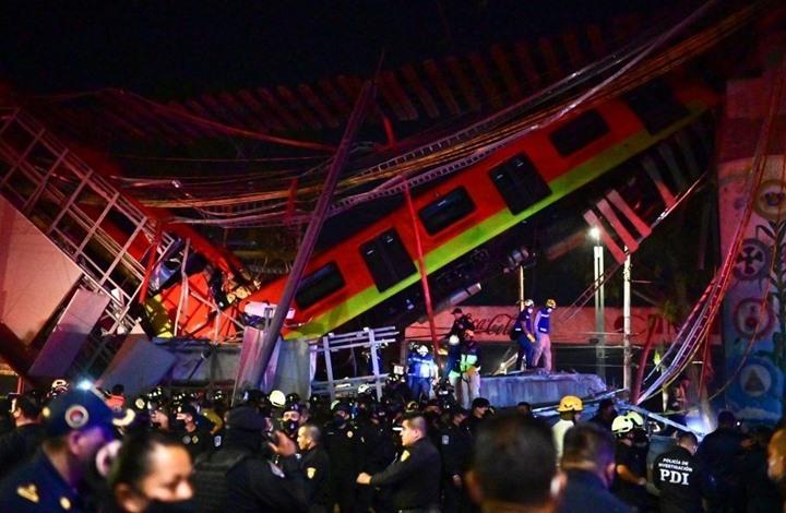20 قتيلا بانهيار جسر معلّق لحظة مرور قطار فوقه بالمكسيك