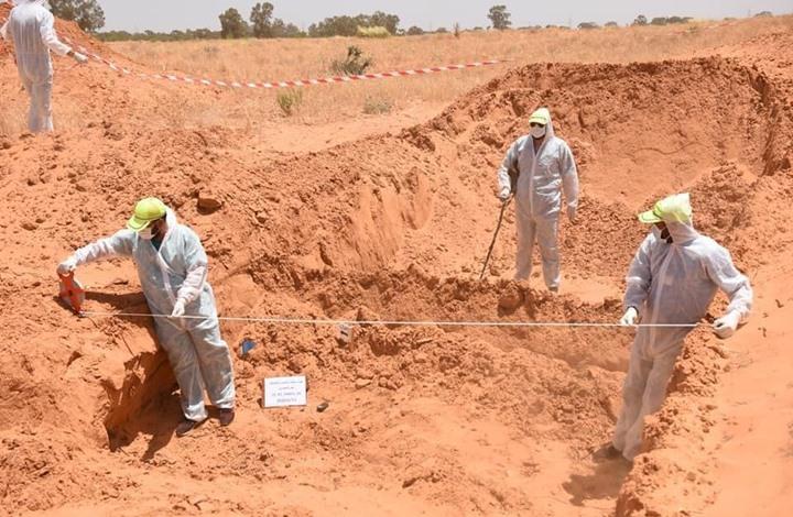انتشال 10 جثث من مقبرة جماعية جديدة بترهونة الليبية