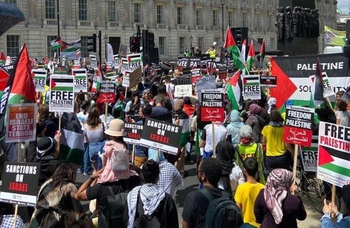مظاهرة من أجل فلسطين في لندن بالتزامن مع قمة السبع (شاهد)