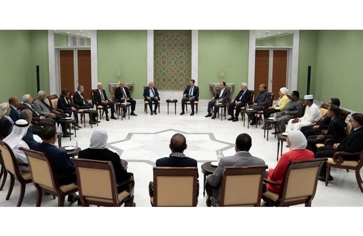 """الأسد يستقبل وفدا من """"المؤتمر القومي الإسلامي"""" المؤيد له"""