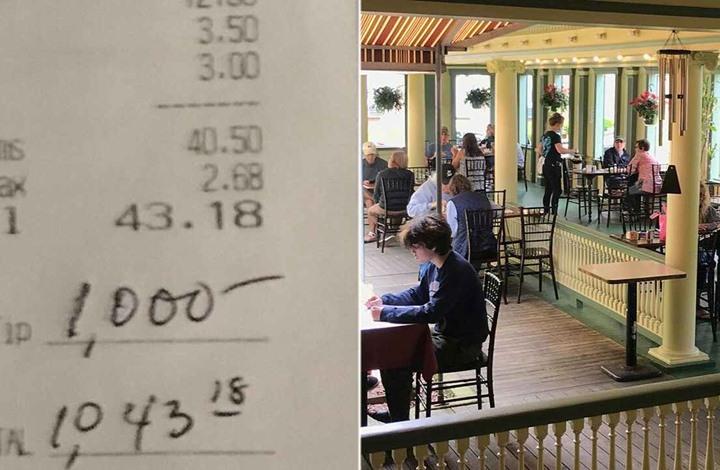 إكرامية بقيمة 1000 دولار لنادلة بمطعم بنيوجيرسي.. إليك القصة