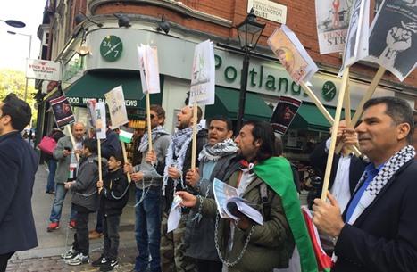 متظاهرون يهتفون في لندن: اسرائيل دولة إرهاب (فيديو)