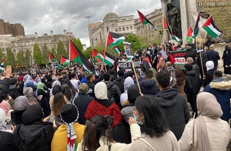"""مظاهرات حاشدة في بريطانيا تضامنا مع """"الأقصى"""" والشيخ جراح (شاهد)"""