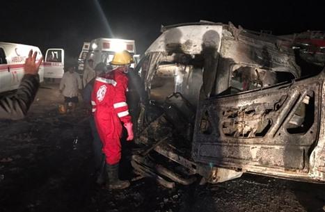 وفاة 14 عراقيا حرقا بعد حادث سير بطريق دولي