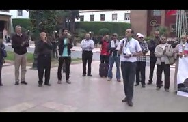 وقفة تضامنية مع الشعب الفلسطيني أمام البرلمان المغربي