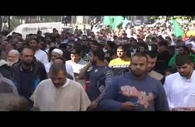 مسيرة في غزة احتجاجا على مشروع قانون إسرائيلي يحظر رفع الأذان