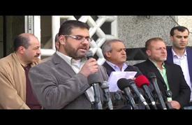 وقفة لصحفيين في غزة احتجاجا على إغلاق إسرائيل فضائية بالضفة