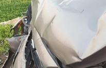 حكم دولي عربي يتعرض لحادث سير بسيارته (صور)