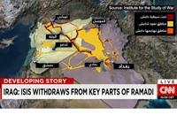 """""""سي أن أن"""" تنشر خريطة جديدة لنفوذ تنظيم الدولة"""