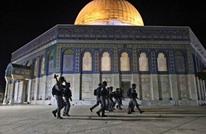"""انسحاب الاحتلال من """"الأقصى"""" والمصلون يهتفون لغزة (شاهد)"""