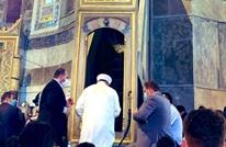 أردوغان يتلو القرآن.. ما قصة سيف وراية بمنبر آيا صوفيا؟