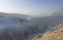 مستوطنون يضرمون النار في مساحات واسعة جنوب نابلس