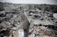 طائرات الاحتلال تقصف مسجد حسن البنا بغزة وتدمره