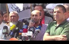 وقفة بغزة تضامنا مع المعتقلين لدى الاحتلال المضربين عن الطعام