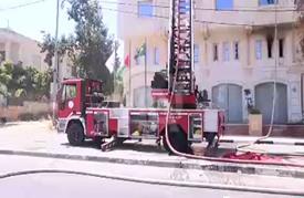 حريق ضخم ببناية تضم قنصليات وسفارات أجنبية برام الله