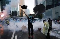 """احتجاجات مستمرة.. عنف و""""مياه زرقاء"""" في هونغ كونغ (شاهد)"""