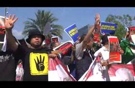 مسيرة مناهضة لزيارة السيسي في جاكرتا