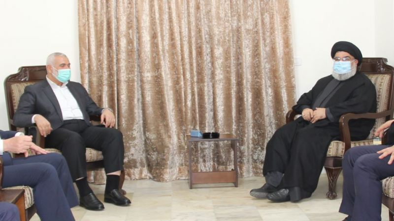 Haniyeh meets Nasrallah in Lebanon and discuss normalization projects